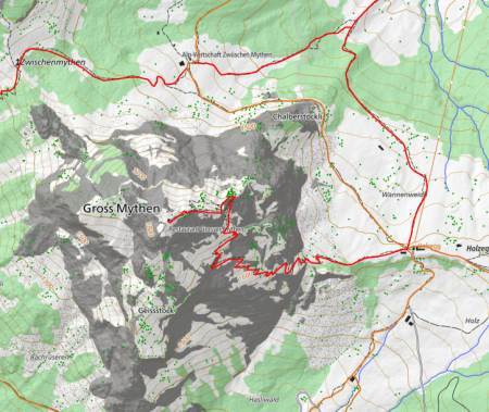 Wanderwege im WebGIS Mythenregion