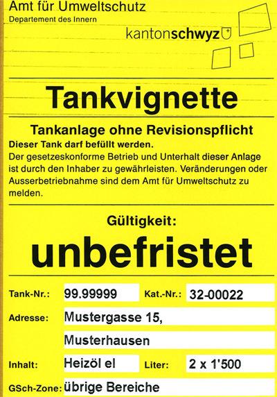 Vignette für meldepflichtige Tankanlagen