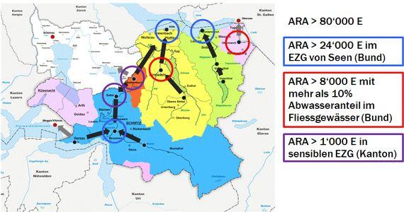Vom Ausbau betroffene ARA im Kanton Schwyz